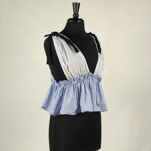 Zara Striped Peplum Crop Top